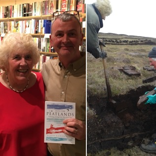 with Mary Campbell , Byres Rd Glasgow and cutting peat, Lewis